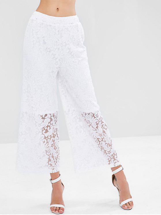 latest Wide Leg Lace Palazzo Pants - WHITE M