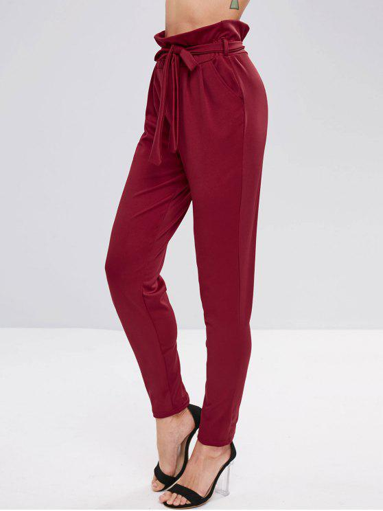 chic Ruffle Belted Tapered Pants - RED WINE S