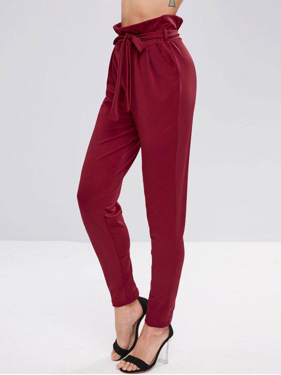 Pantalones Cónicos con Cinturón - Vino Tinto S