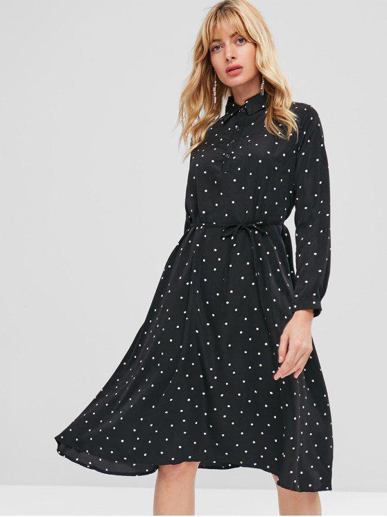 فستان بنمط قميص من بولكا دوت - أسود حجم واحد