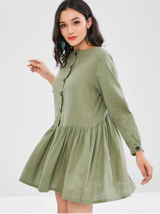 outfit Button Embellished Smock Dress - SEA GREEN XL