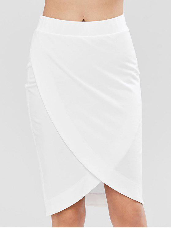 womens Pull On Crossover Midi Pencil Sweat Skirt - WHITE XL