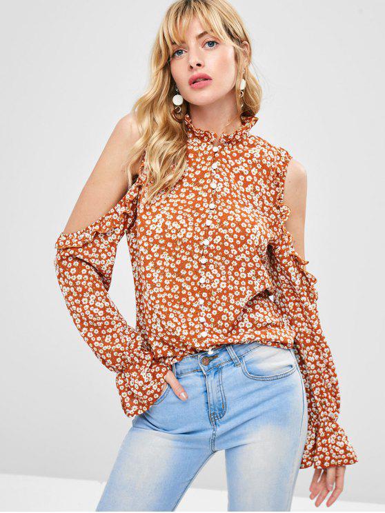 chic Daisy Print Ruffles Cold Shoulder Blouse - MULTI M