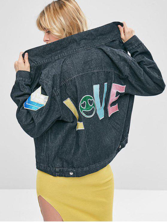 lady Letter Patched Loose Denim Jacket - JET BLACK M