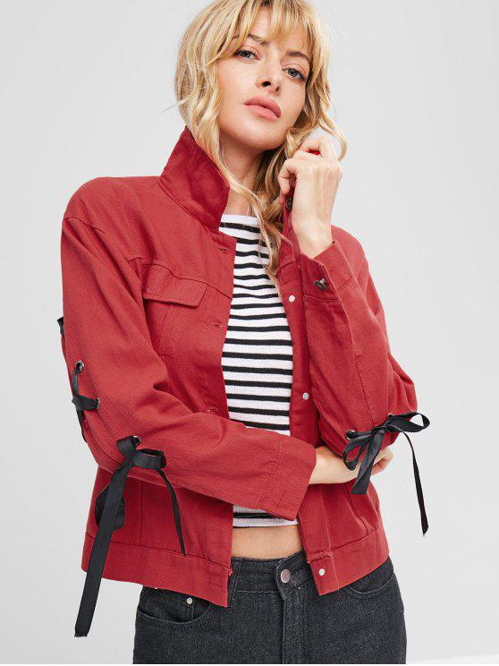 trendy Button Up Lace Up Jacket - RED M