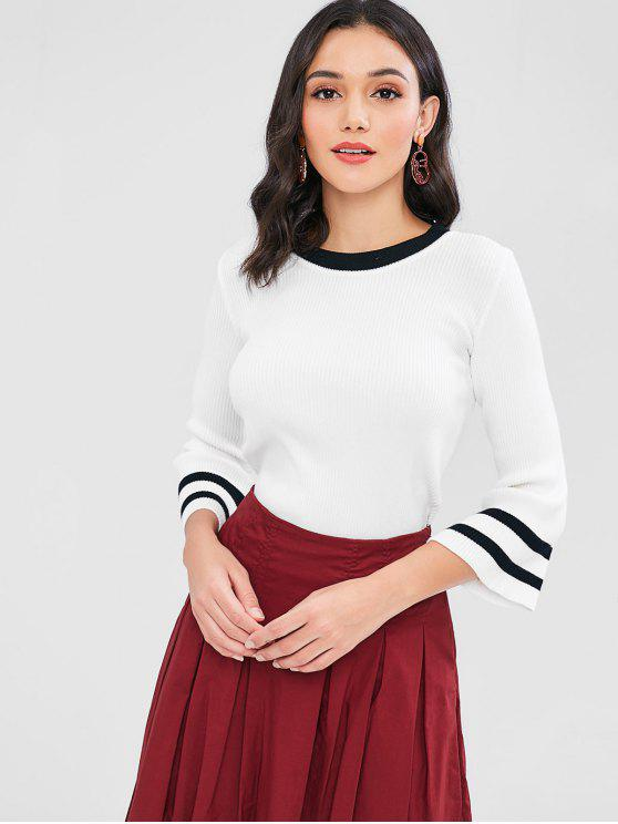 Streifen Gerippter Pullover - Weiß Eine Größe