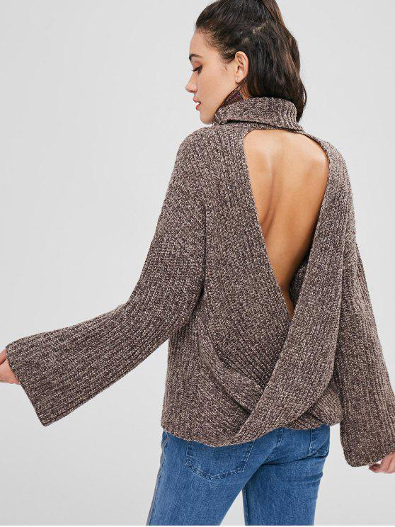 Chunky Knit Open Back Sweater - ديب براون مقاس واحد