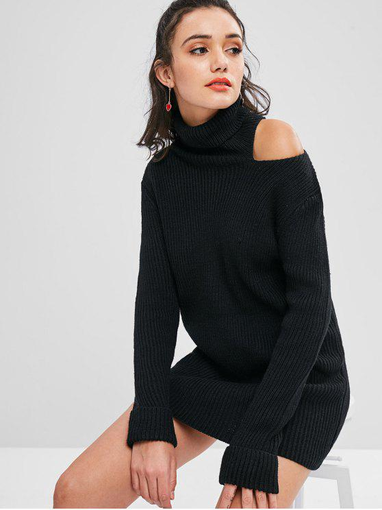 unique Cold Shoulder Turtleneck Sweater - BLACK ONE SIZE