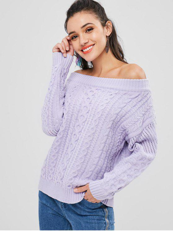 sale Off Shoulder Cable Knit Sweater - MAUVE ONE SIZE