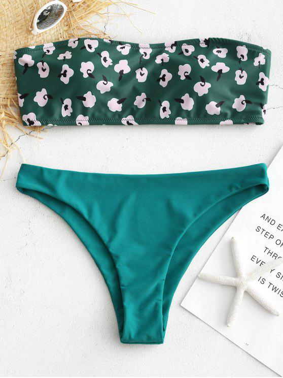 unique Bandeau Contrast Print Bikini Set - GREENISH BLUE L