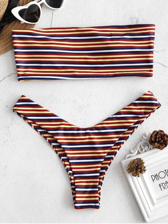 fashion Colorful Striped Bandeau Bikini Set - MULTI S