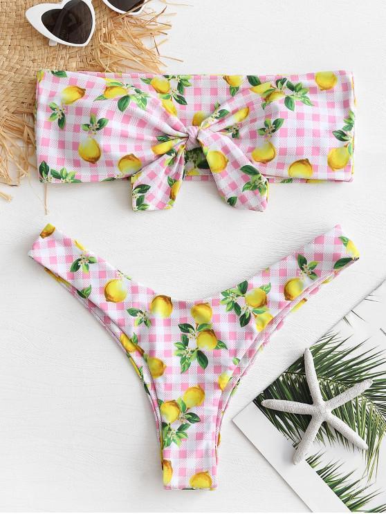 Bikini bandeau a cuadros de limón - Rosado M