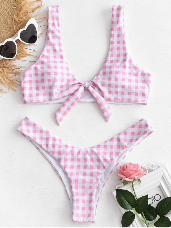 Hochgeschnittenes Geknotetes Kariertes Bikini -Set - Rosa S