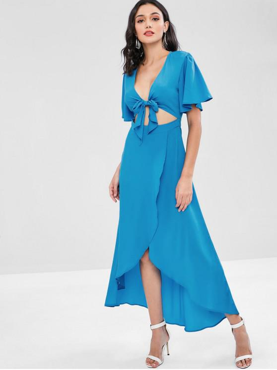ladies Flowy Tie Front High Low Maxi Dress - DEEP SKY BLUE L