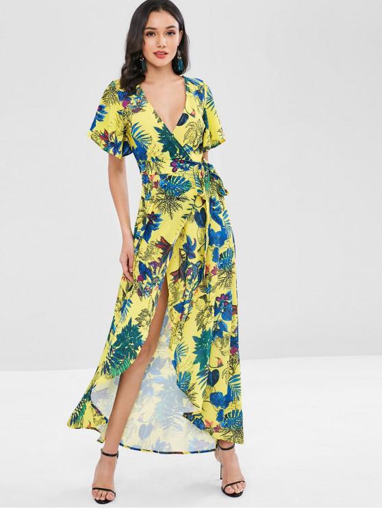 Vestido largo con estampado de flores y faldas florales - Multicolor S