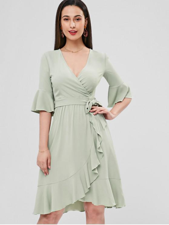 unique Bell Cuffs Ruffle Midi Faux Wrap Dress - FROG GREEN M