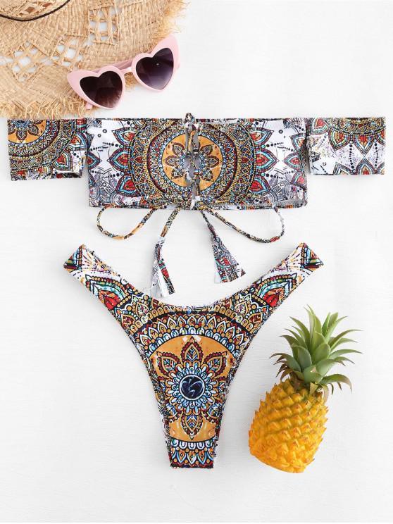 Conjunto de bikini estampado Mandala con hombros descubiertos - Multicolor-B L