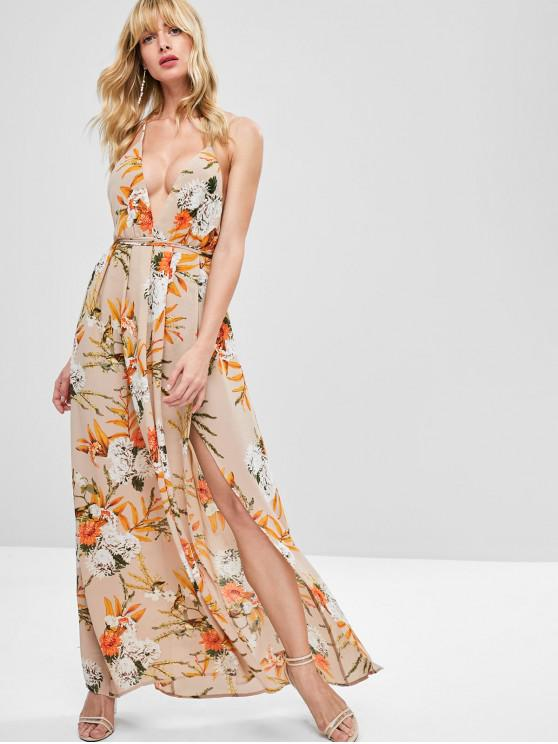 trendy Slit Floral Criss Cross Maxi Dress - KHAKI ROSE S