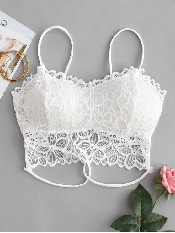 lady Floral Lace Padded Strappy Bralette - WHITE ONE SIZE