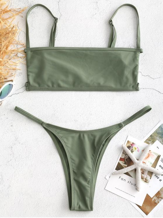 ladies Bralette Cutout Thong Bikini Set - SEA GREEN M
