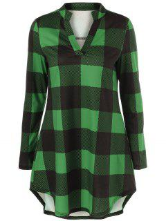 Split Neck Long Plaid Boyfriend T-Shirt - Green L