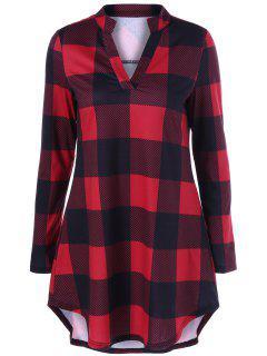 Split Neck Long Plaid Boyfriend T-Shirt - Red With Black 3xl