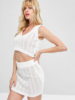 Eyelet Knitted Skirt Set - White L