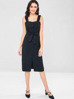 Belted Button Up Pinafore Little Dress - Black M