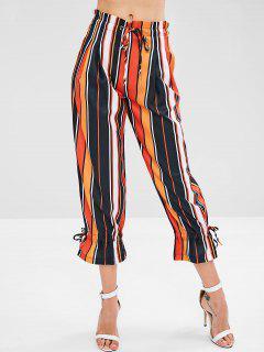 Drawstring Striped Colored Wide Leg Pants - Multi M