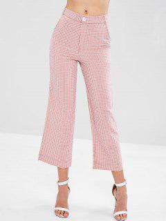 High Waisted Gingham Wide Leg Pants - Pink M