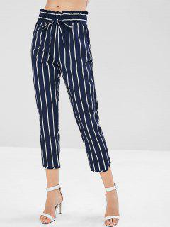 Pockets Pull On Striped Casual Pants - Deep Blue L