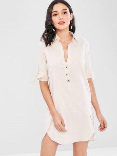 Buttoned Tie Sleeve Mini Shirt Dress - Champagne S