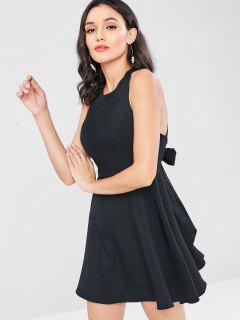 Sleeveless Cross Back Mini Skater Dress - Black L