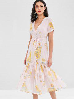 Floral Covered Button Puff Sleeve Midi Dress - Pink S