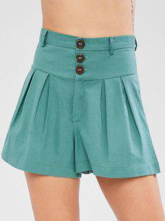 Pleat Front High Waisted Shorts - Light Sea Green S