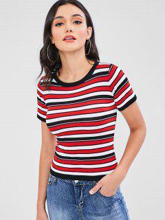 Camiseta De Punto Con Rayas Tricolor - Multicolor