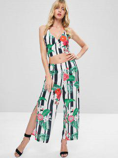 Clashing Print Crop Top And Pants Matching Set - Multi S