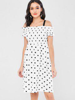 Polka Dot Cold Shoulder Smocked Dress - White L