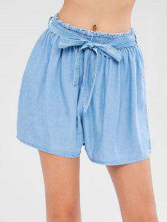 High Waisted Chambray Pull On Shorts - Denim Blue L