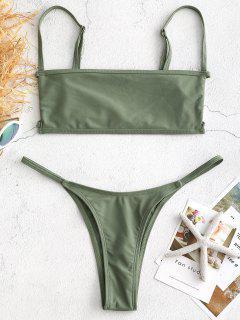 Bralette Cutout Thong Bikini Set - Sea Green L