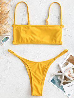 Bralette Cutout Tanga Bikini Set - Helles Gelb S