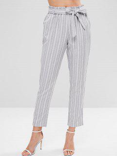 Pantalon Rayé Avec Ceinture - Multi S