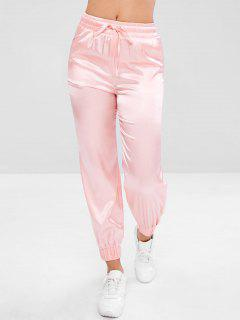 Satin Drawstring Athletic Jogger Pants - Pink S