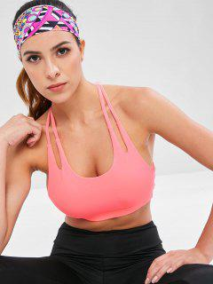 Caged Back Padded Gym Bra - Watermelon Pink L