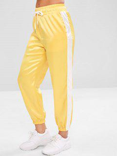 Satin Contrast Jogger Sweat Pants - Yellow L