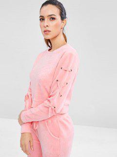 Velvet Lace Up Sweatshirt - Pink L