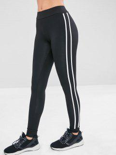 Contrast Side Sports Gym Jogger Pants - Black L