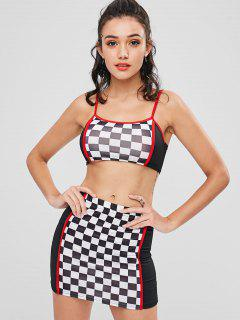 Checked Crop Cami Skirt Set - Black L