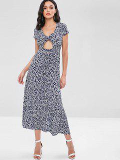 Twist Front Cut Out Floral Print Maxi Dress - Deep Blue L