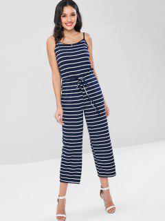 Striped Sleeveless Capris Jumpsuit - Deep Blue L